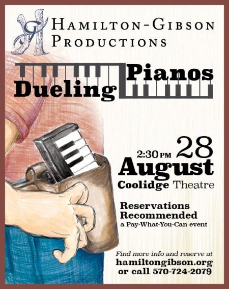 Dueling Pianos performance is August 28, 2016 at 2:30 pm at the Coolidge Theatre. Pay-what-you-can admission. Reservations are recommended.